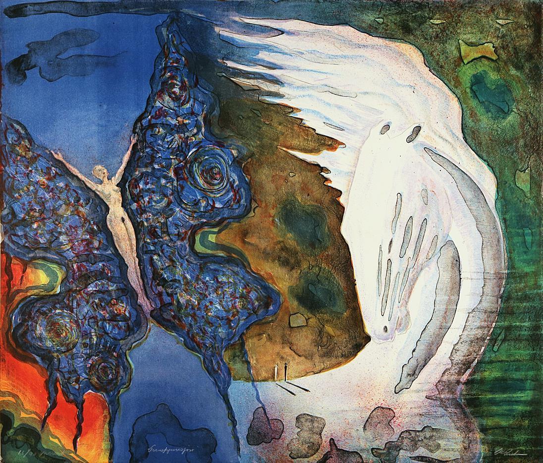 """Transformasjon"", litografi, 52 x 61 cm."