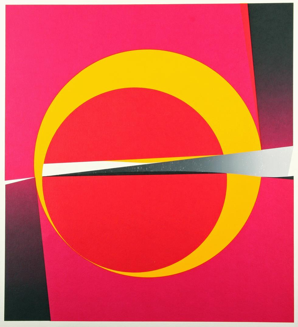 """""""Gul sirkel"""", fargeserigrafi, prøvetrykk, usignert"""
