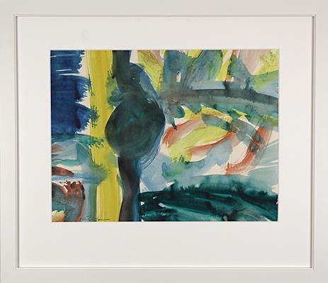 """Komposisjon"" akryl på papir 32,5 x 43 cm. Ramme 54 x 62 cm."