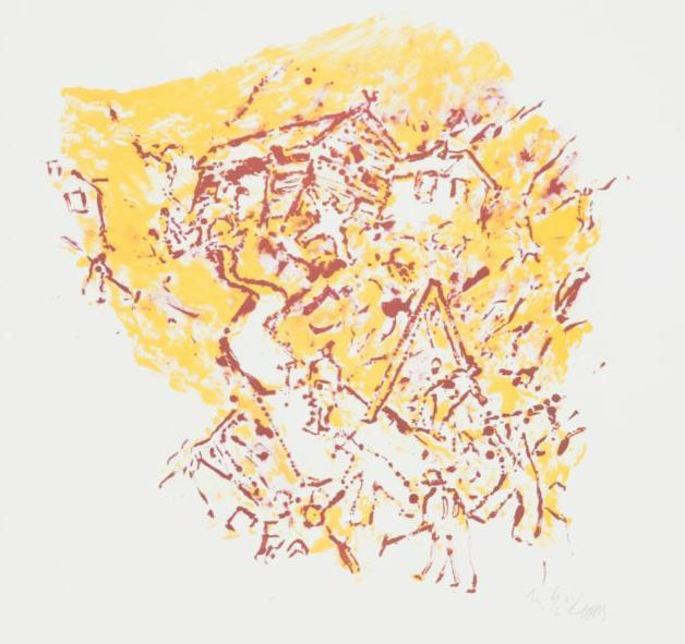 """Veiarbeid"", litografi 48/175, 47 x 63 cm."
