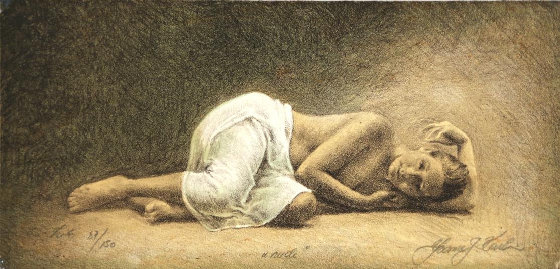 """""""Nude"""", litografi, 38 x 61 cm."""