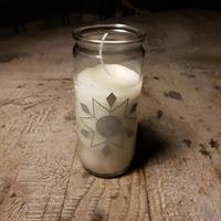 Ljus i glasbehållare med silverstjärna 2