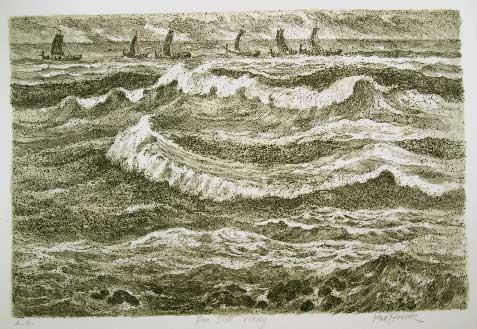 """Den siste viking"", litografi 34 x 52 cm"