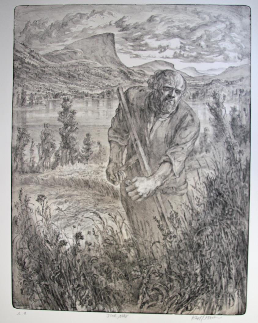 """Isak slår"", litografi, 70 X 53 CM."