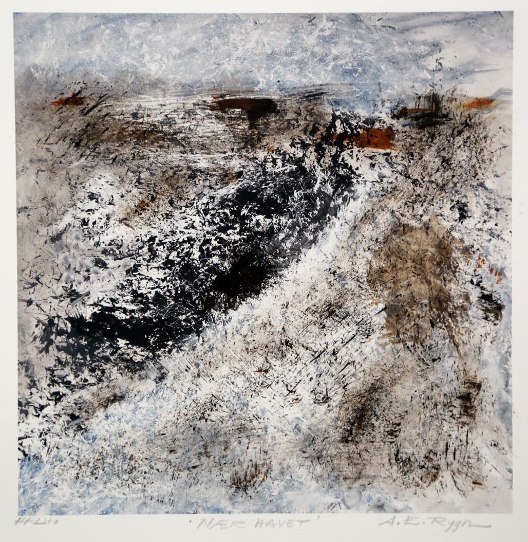 """""""Nær havet"""", litografi"""