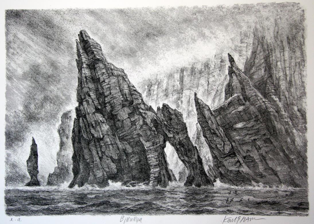 """""""Bjørnøya"""", litografi 35 x 50 cm."""