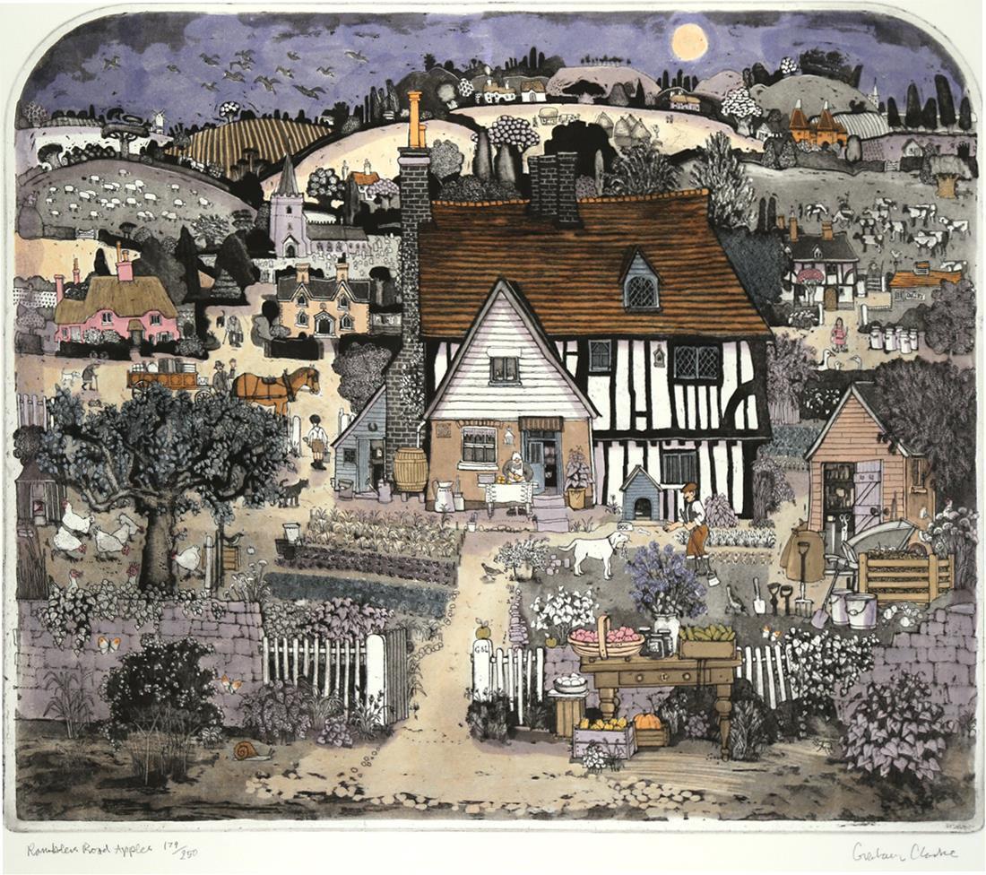 """Ramblers Road Apples"", Håndkolorert easing, 60 x 050 cm"