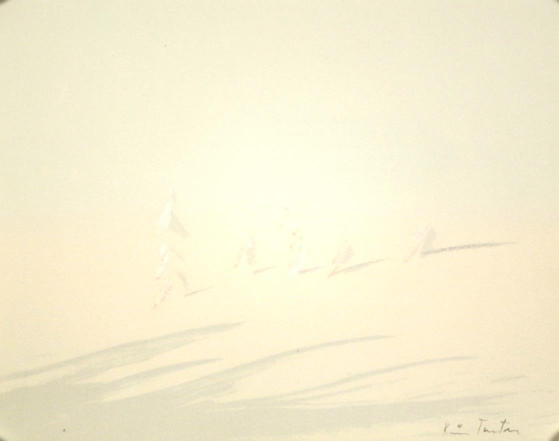 """""""Morgen"""" håndkolorert litografi, 29,5 x 29,5, cm., fra mappen flak av lyset"""