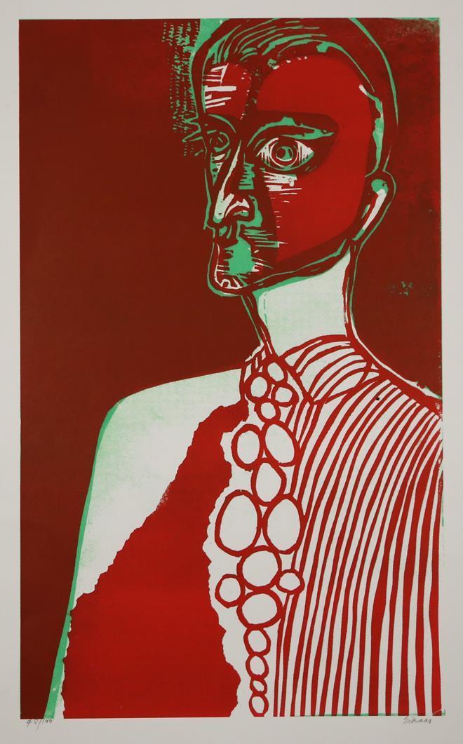"""""""Selvportrett med slips"""", offset litografi 48/100, 65 x 39 cm."""