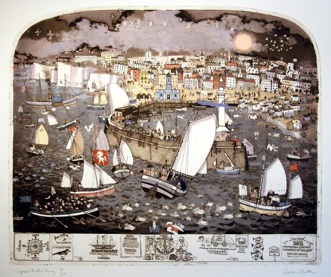 """""""Captain Booth´s Fancy"""", håndkolorert etsing, 50 x 60 cm."""