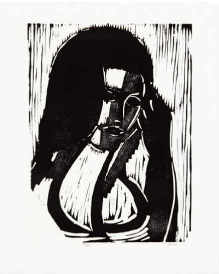 """""""Synnøve"""", tresnitt, 74/120, 50 x 40 cm."""