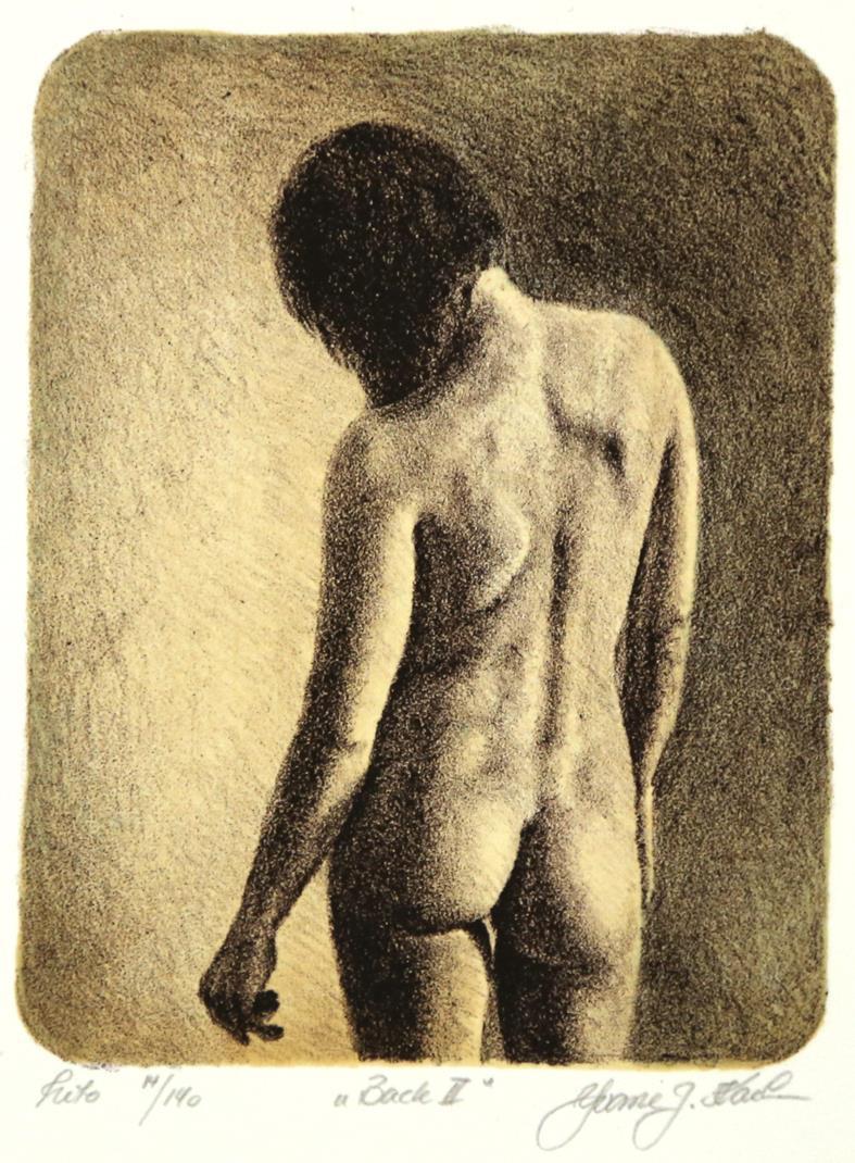 """""""Back II"""", litografi, 18 x 14 cm."""