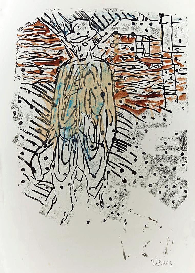 """Et bygdegeni"",dyptrykk collage på papir, 79 x 57 cm."