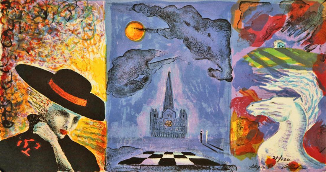 """""""Allegori 3"""" litografi  21,5 x 41 cm"""