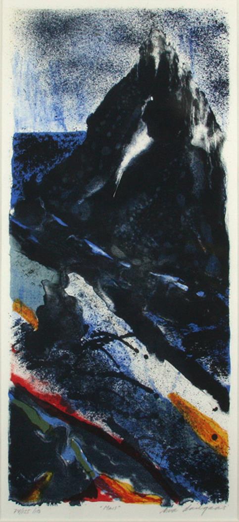 """Mars"" litografi 56 x 25 cm."
