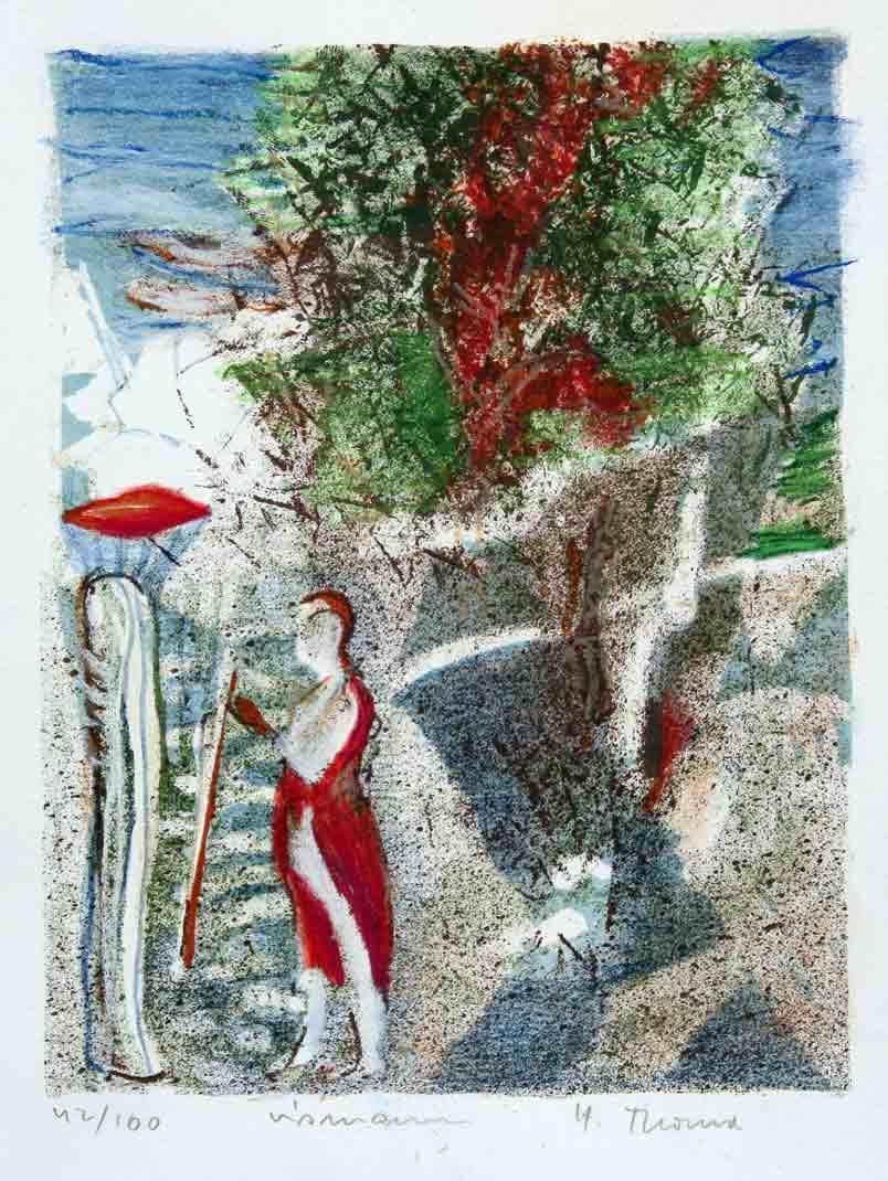 """""""Vismannen"""" kolorert litografi 25 x 19 cm. innrammet med Art-Glass"""