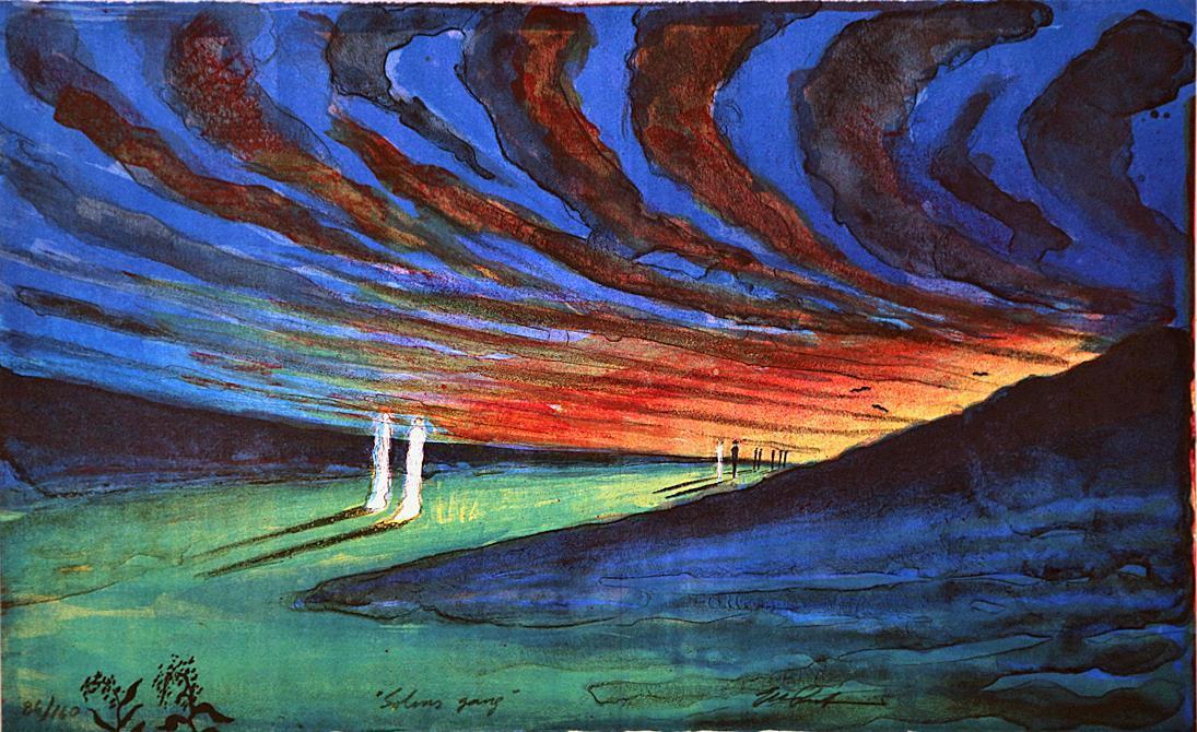 """Solens gang"", litografi 31 x 50 cm."