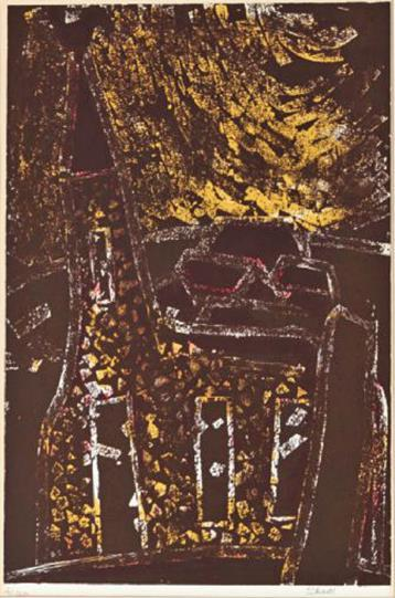 """Kirken"" litografi 2/120, 52 x 35 cm."