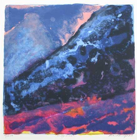 """""""En dag er over"""", litografi 39 x 39 cm."""