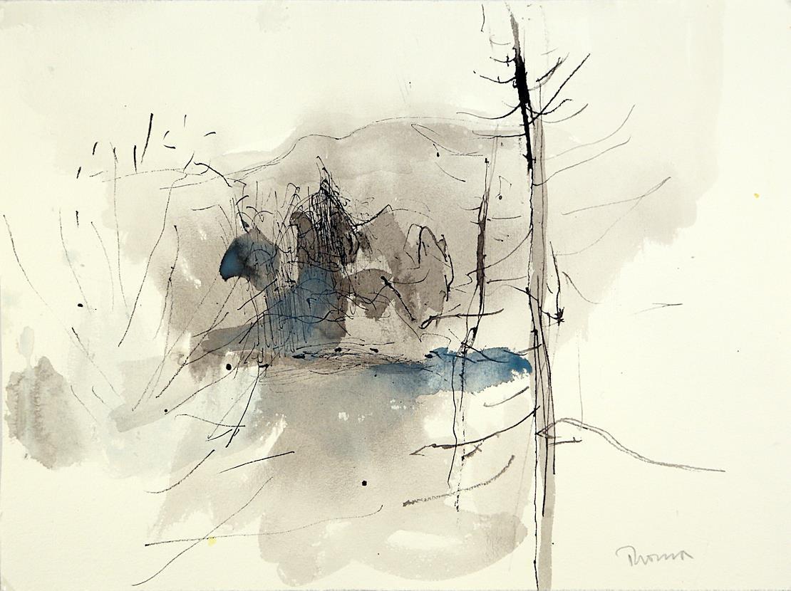 """""""Landskap"""", akvarell 27 x 36 cm. rammet med Art-Glass"""