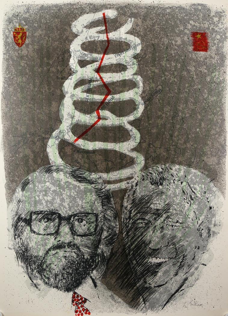 """Jernteppe"", gråsonebilde litografi 1974, E.T. 76 x 54 cm."