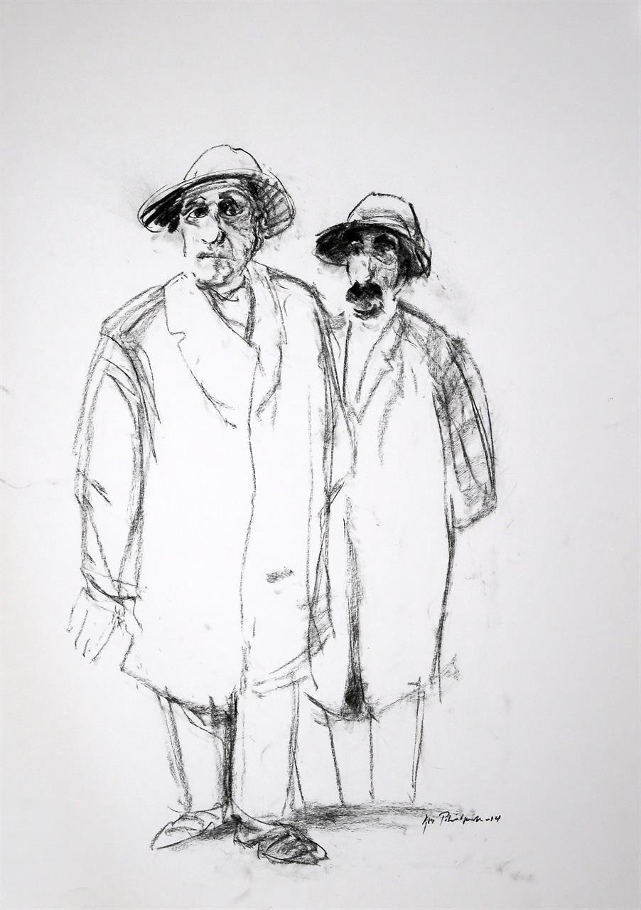 """""""To herrer"""" kullstift 55 x 35 cm."""