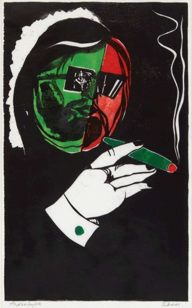 """""""Jan Otto"""", fargetresnitt, prøvetrykk, 73 45 cm."""