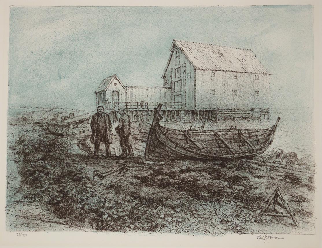 """""""Fra Benoni og Rosa"""", fargelitografi 43 x 53 cm."""