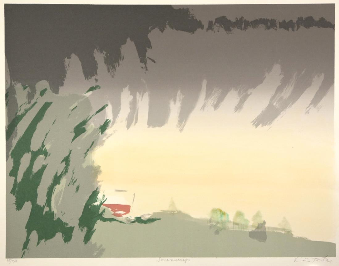 """""""Sommer-regn"""", håndkolorert silketrykk, 50 x 65 cm."""