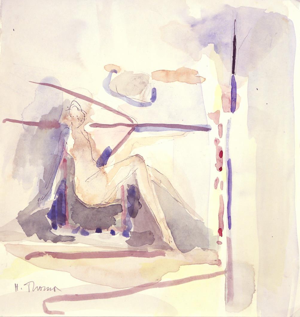 """""""Hvilende"""", akvarell,  27 x 25 cm."""