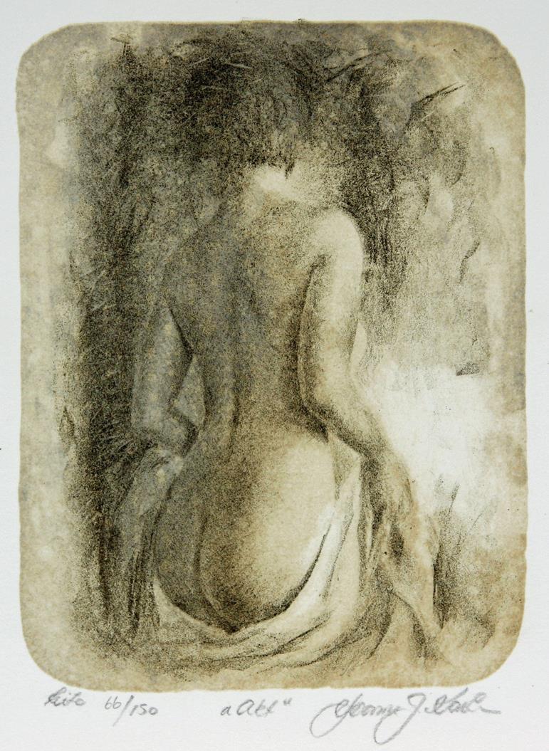 """""""Akt"""", litografi, 19 x 13 cm."""