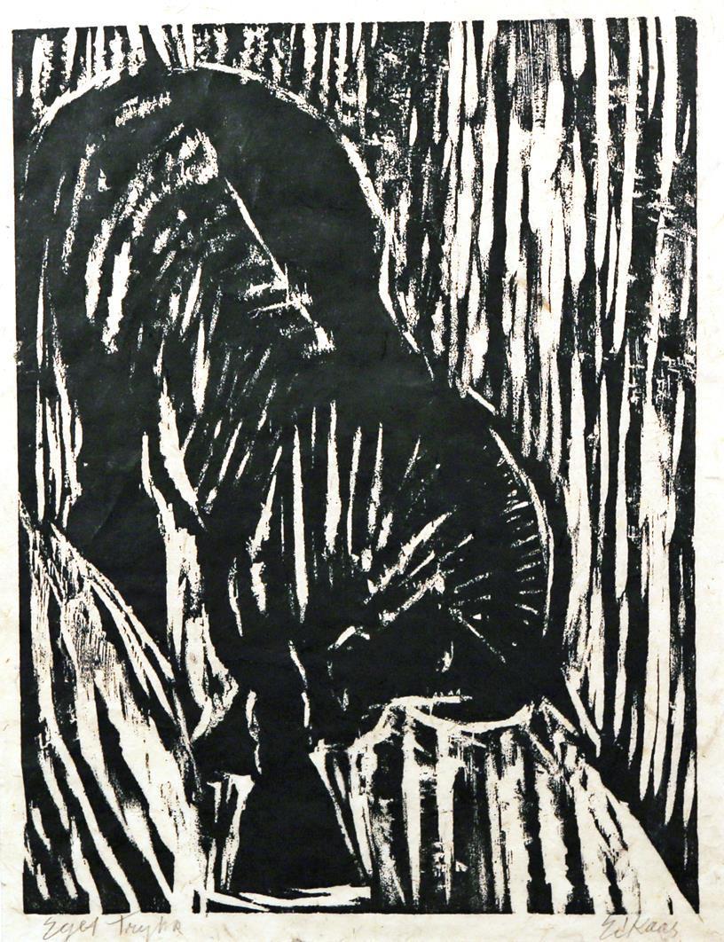 """""""Hest i brattheng"""", tresnitt, Eget trykk, 40 x 30 cm."""