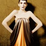 Draped leather and silk textile project -  A study of bias draping and draping of leather Design and making: Christina Lovery - Photo: Lise Falch