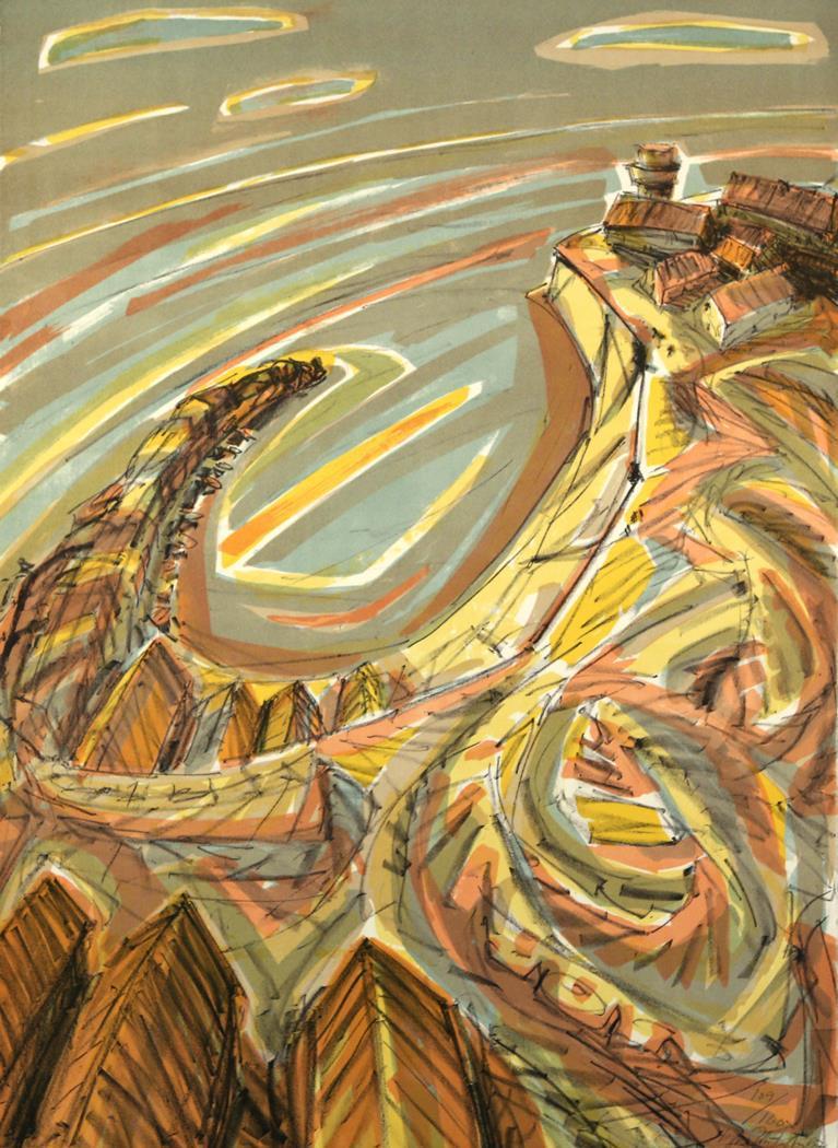 """""""Byen"""", litografi, 72 x 52 cm."""
