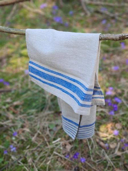 AGNES kjøkkenhåndkle i lin blå