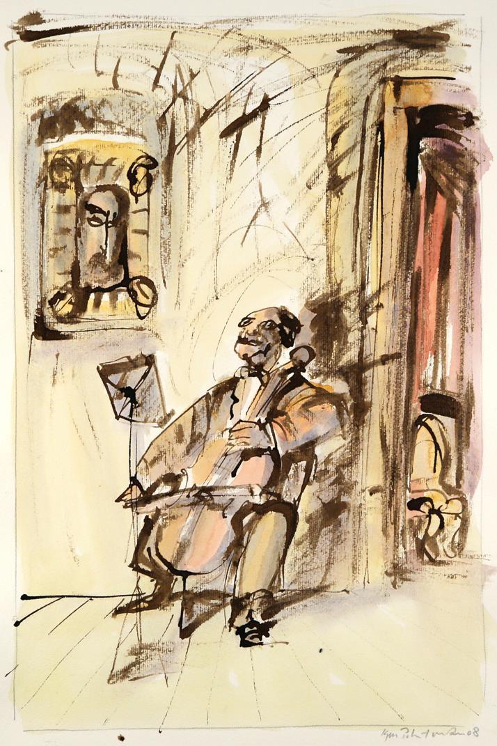 """Cellist"" akvarell"