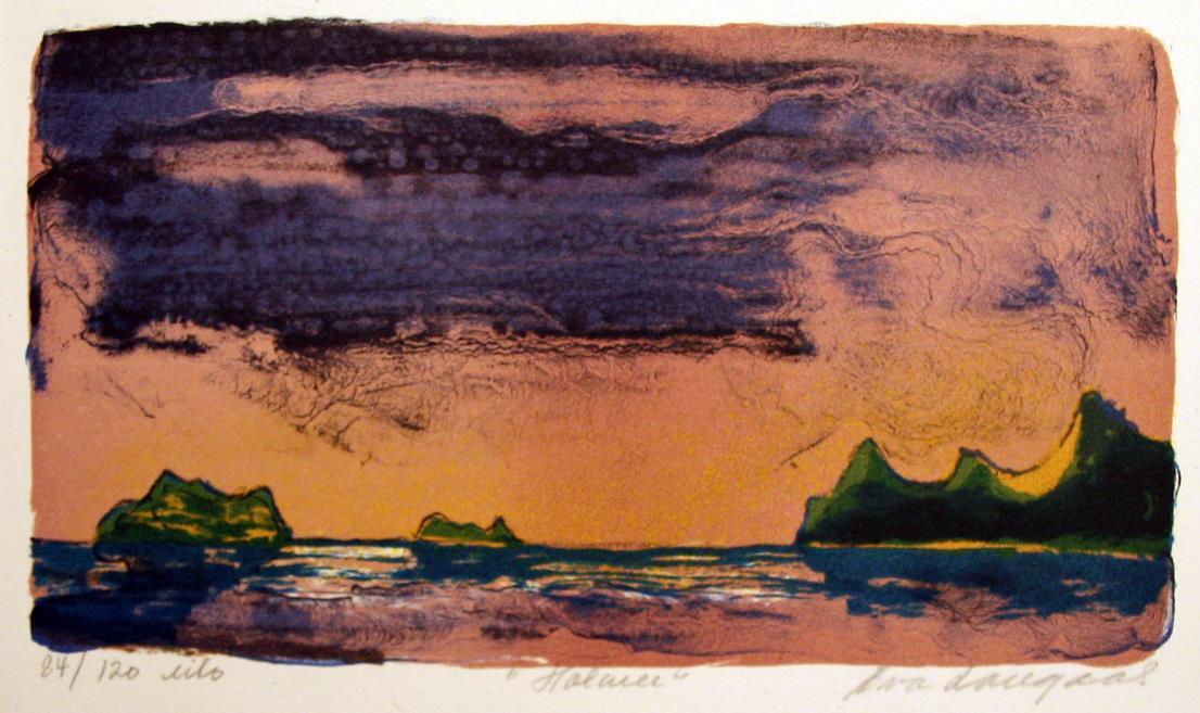 """""""Holmen"""", litografi 15,52 x 28 cm."""