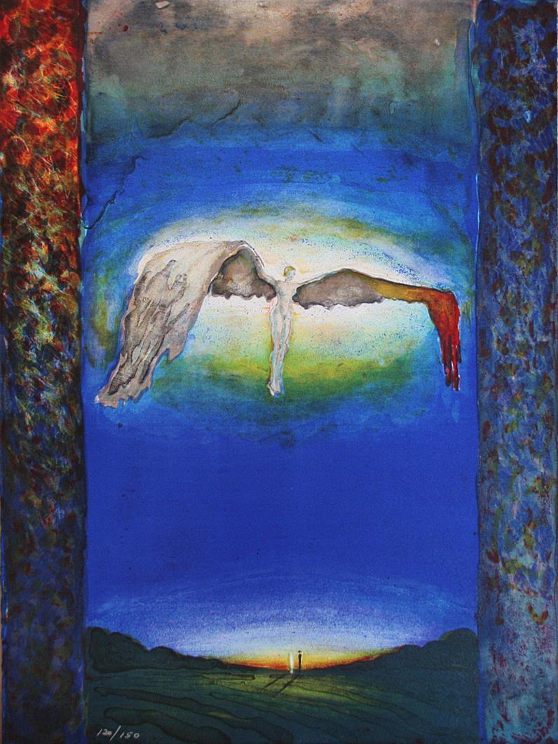 """""""Brukken vinge"""", litografi, 61 x 46 cm."""
