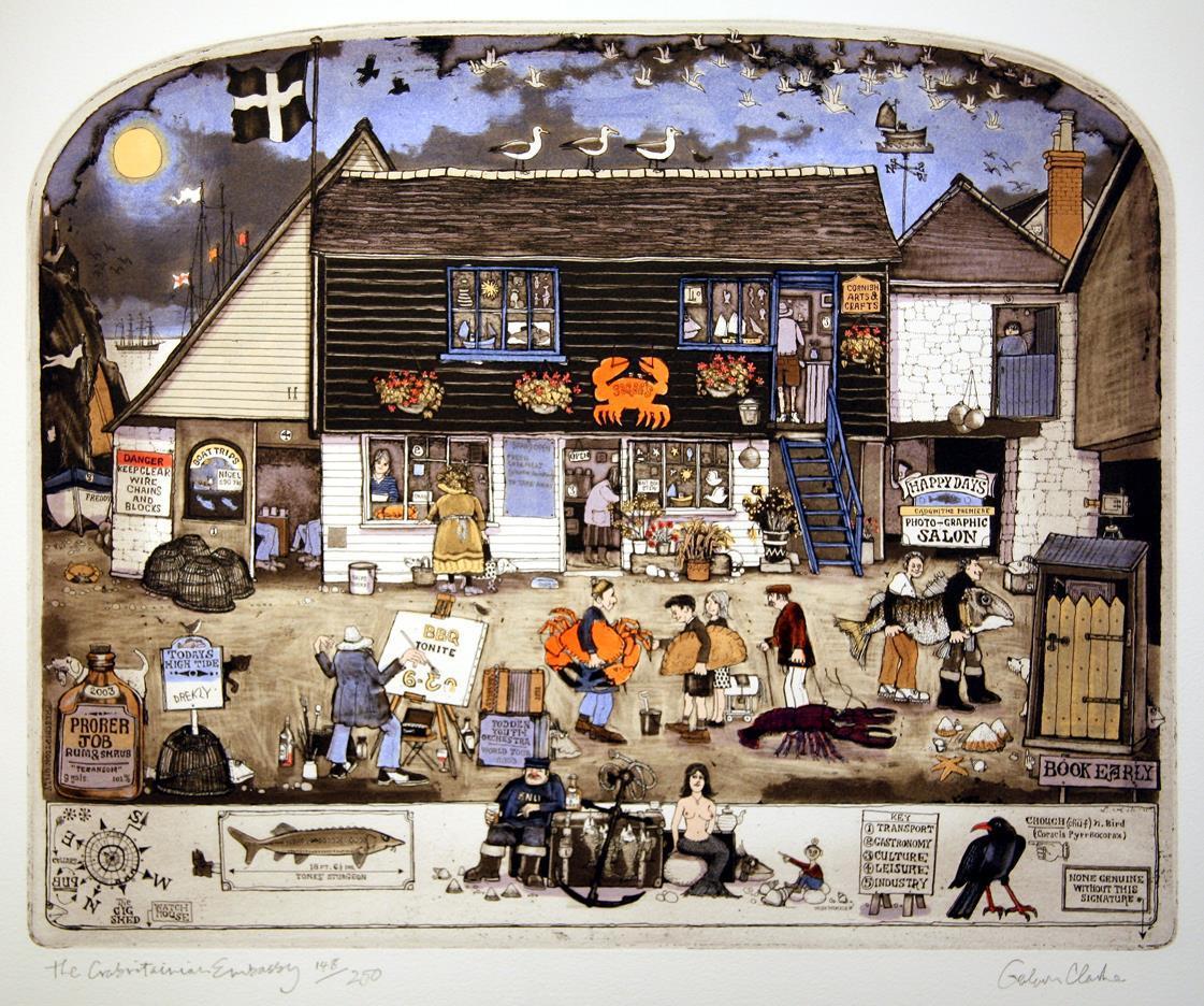 """The Crabritanian Embassy"", håndkolorert etsing 44 x 35,5 cm."
