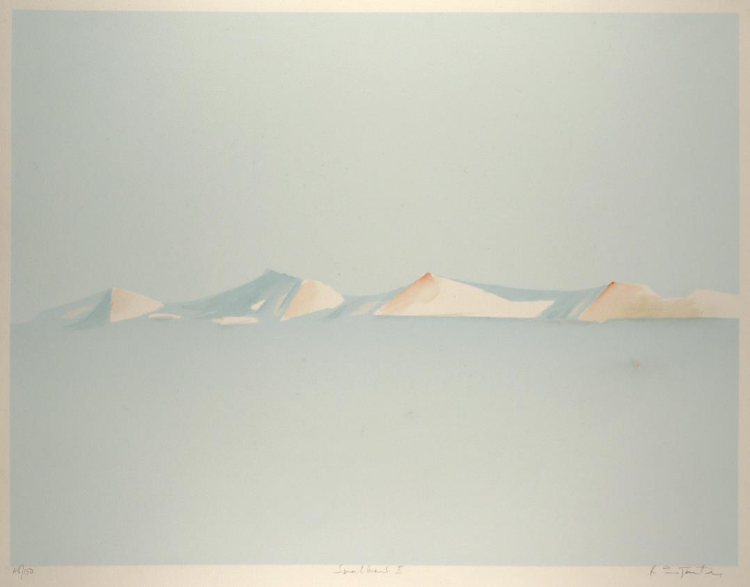 """Svalbard II"", håndkolorert silketrykk, 49,5 x 65 cm."