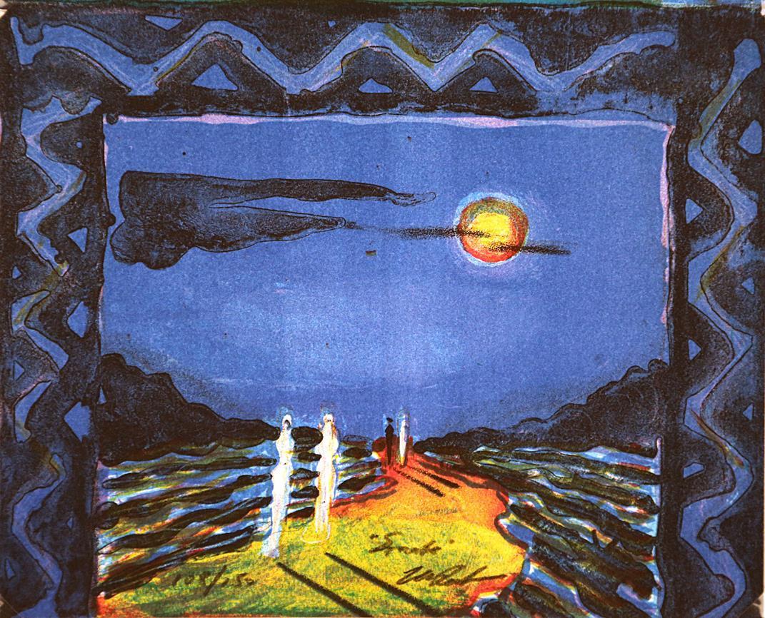 """""""Sonate"""", litografi, 19 x 23 cm."""