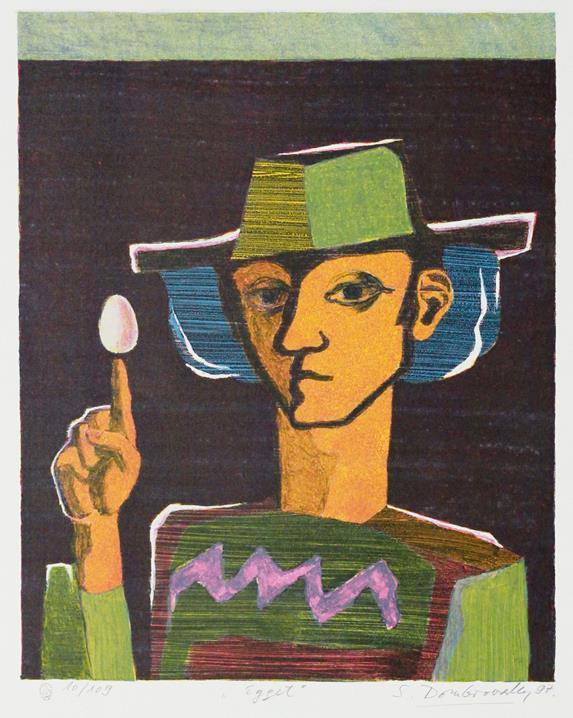 """Egget"", litografi 41 x 33 cm."