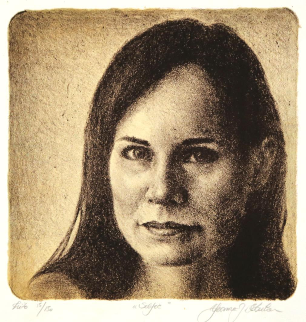 """Selfie"", litografi, 18 x 18 cm."