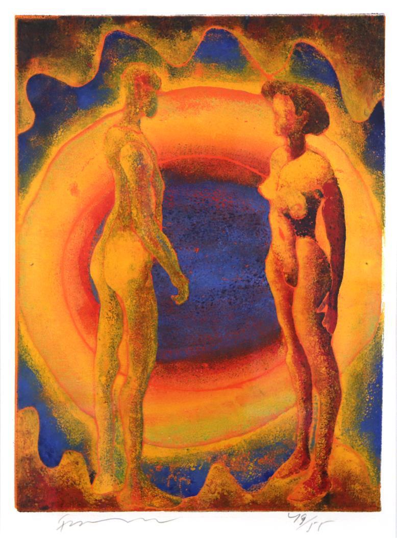 """""""To piker"""", farge-tresnitt 1997 50 x 37 cm."""