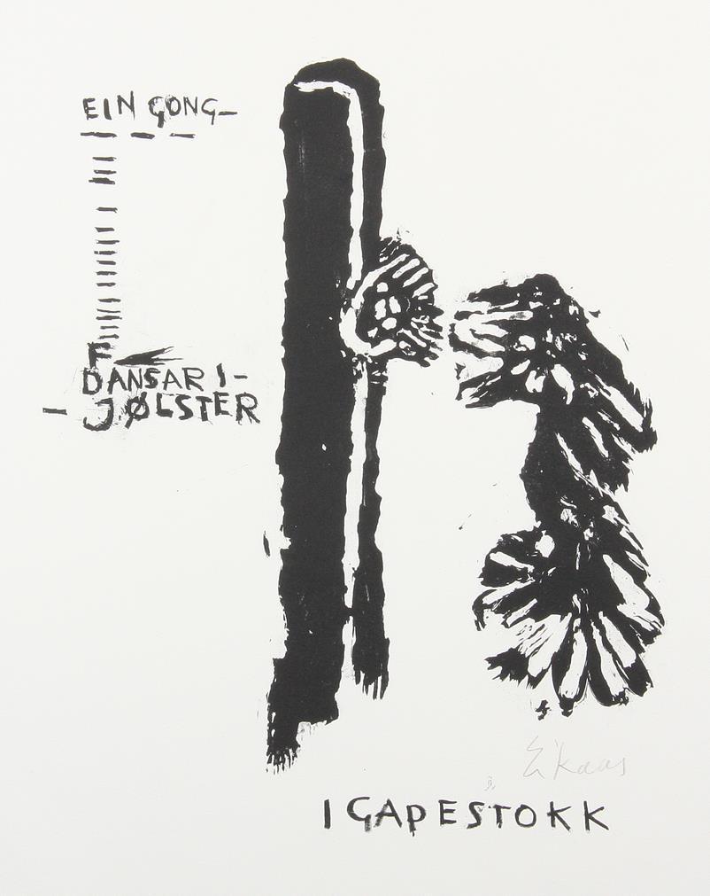 """"""" I gapestokk """", tresnitt, 27 x 23 cm."""