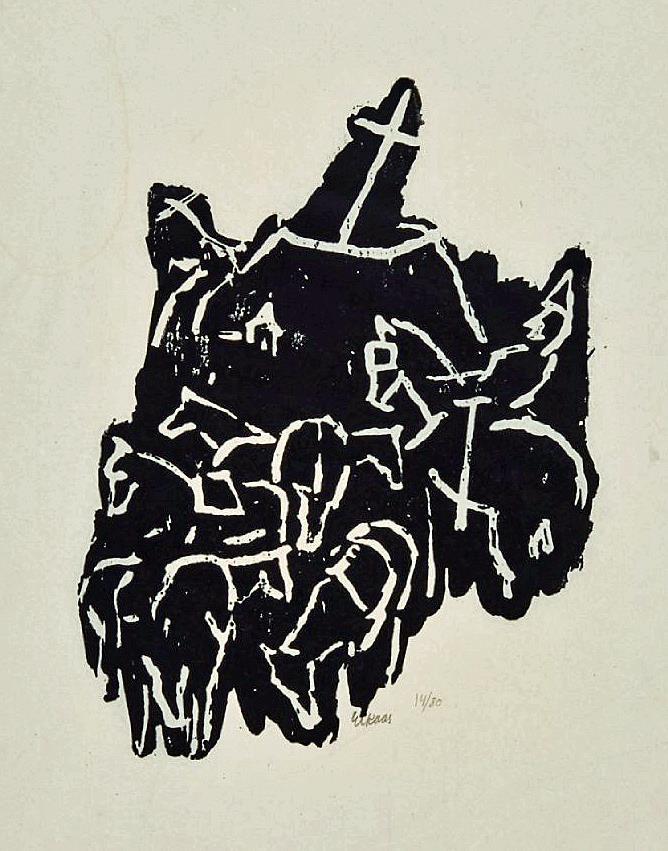 """""""Hærmændene på Helgeland"""", tresnitt 14/80, 39 x 27 cm."""