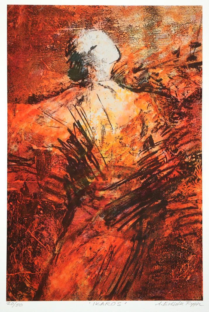 """Ikaros"" rød variant, litografi"