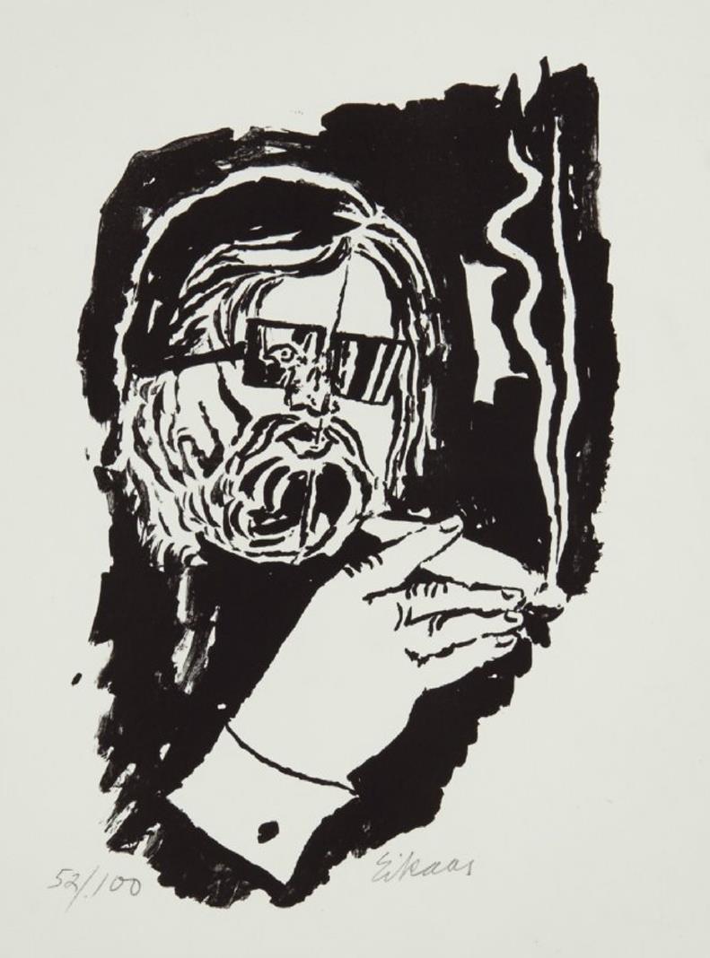 """""""Jan Otto"""" litografi 61/100, 27 x 18 cm."""