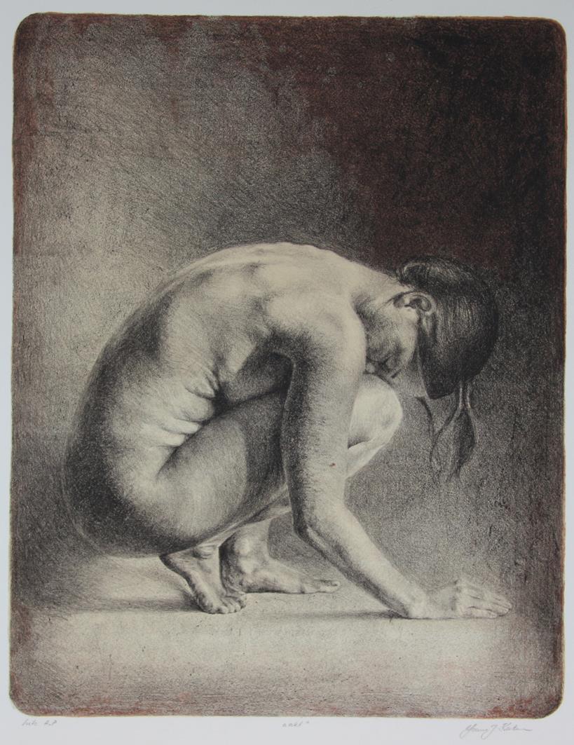 """""""Akt"""", litografi,"""