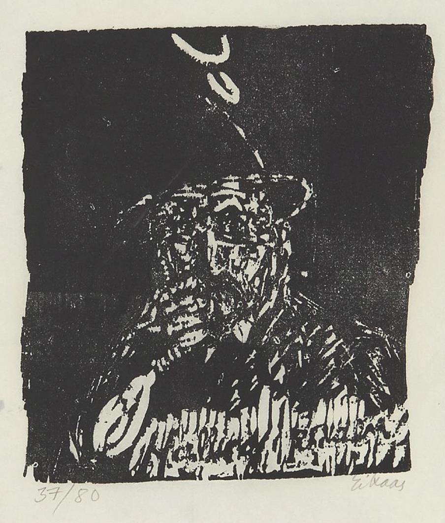 """Hallingråen"", tresnitt 1990, 37/50, 50 x 30 cm."